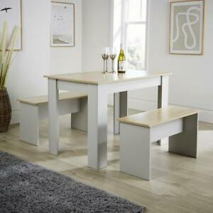 Grey Oak Dining Set Table with 2 Benches to Seat 4 Two Tone Kitchen Set