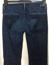 7 For All Mankind Flared Stretch Ladies Jeans Size 28/34 Dark Blue Wash VGC RARE