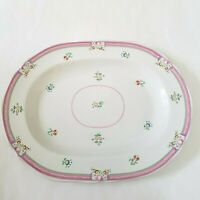"""Laura Ashley ALICE Pink Floral Serving Platter 13 3/8"""" x 10"""" MADE IN ENGLAND"""