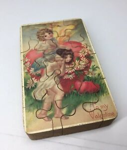 "Vintage Victorian Cherub 'To My Valentine' Cupid Art Wood Block Puzzle 5""x3"""
