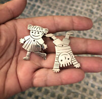 Vintage Sterling TAXCO TM 138 Mexico 925 Silver BOY GIRL BROOCH PENDANT COMBO