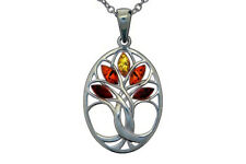 Sterling Silver 925 Oval Pendant Tree of Life Necklace Amber Jewellery +Chain
