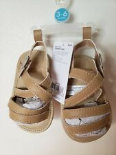 Carter's baby girl crib shoes 3-6 months faux leather sandals soft sole read