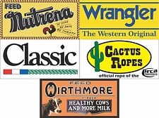5- 3' X 6' BANNER LOT RODEO ARENA PACKAGE DEAL WRANGLER NUTRENA & MORE