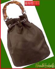 GUCCI BAMBOO SHOULDER BAG Brown Canvas w/ Leather Trim VINTAGE