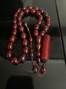 Natural Cherry Amber Faturan Misbaha Tesbih Rosary Prayer Worry Beads Tasbeh