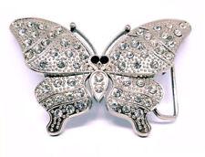 SILVER Farfalla Cintura Fibbia Bling Strass Donna Abito Cintura Snap Fit