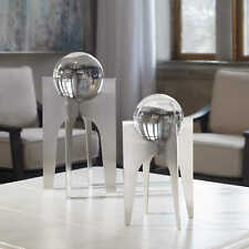 TWO CONTEMPORARY ART BRUSHED PLATED METAL CRYSTAL SPHERE SCULPTURES UTTERMOST