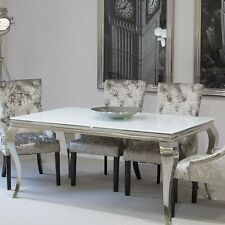 White Glass Dining Table Furniture Living Room Shabby Chic Polished Metal Legs