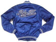 New Ralph Lauren Polo Cotton Blend Reversible Navy Blue NY Varsity Jacket sz L