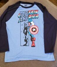 Marvel Captain America Long-Sleeve T-Shirt Two Tone Blue *Nice* Sz M (U1)