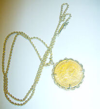 1881 Five Dollar GOLD coin 14K necklace .5 oz or 15+ grams