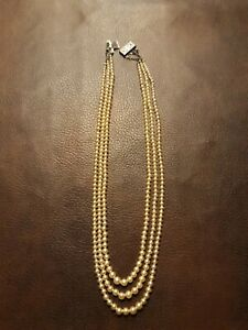 antique three strand pearl necklace with sterling silver clasp