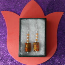 Gr. 5 Cm. Long + Hooks In Box Beautiful Brown Murano Glass Earrings & Citrine 8