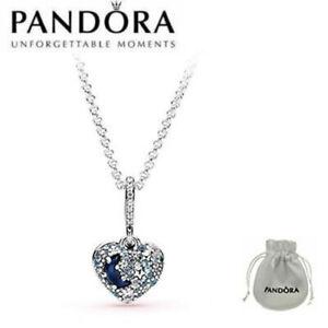 Pandora 399232C01 Sparkling Blue Moon & Stars Heart Necklace S925 ALE