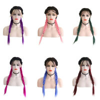 """24"""" Synthetic Braided Lace Front Wigs Baby Hair Ombre Long Straight Braids Wigs"""