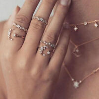 5pcs/set Moon Star Crystal Rings Women Vintage Wedding Boho Ring Jewelry Gift