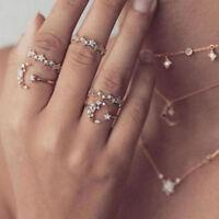 5pcs/set Moon Star Crystal Rings Women Vintage Wedding Boho Ring Jewelry Gift