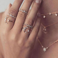 Vintage 5Pcs/set Crystal Silver Star Flower Stackable Sparkly Rings Boho Jewelry