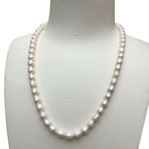 Elegant 7~8mm Natural Freshwater Baroque drop white pearl necklace 46cm AB DL160