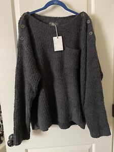 Nwt Barefoot Dreams Cozychic Melange Boatneck Button Pullover Size 2x In Carbon