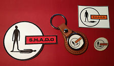 UFO - SHADO PATCH, LEATHER KEY RING, GOLD PLATED BADGE  & S.H.A.D.O. STICKER