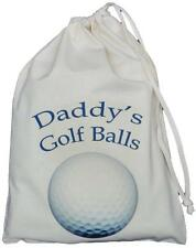 DADDY'S GOLF BALLS BAG - SMALL NATURAL COTTON DRAWSTRING BAG - Blue design