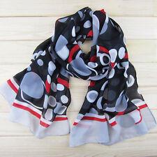 Women's fashion Polka Dot black and red Faux Silk scarf