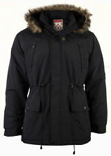 MENS KHAKI BLACK SNORKEL STYLE PADDED FISHTAIL PARKA FUR TRIM TO HOOD FIELDFOX