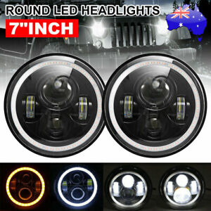 "2pcs 7"" Inch Round LED Headlights Projector Hi-Lo Turn Light fit for GQ PATROL"