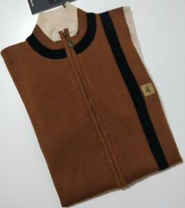 GABICCI VINTAGE  Men's LONG Zip Polo Shirt colour TAN size Small