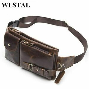 Genuine Leather Men Waist Pack Belt Bag Phone Pouch Bags Small Travel Mens Bag