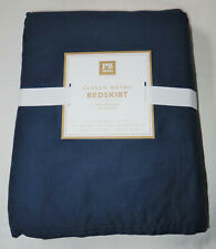 Pottery Barn Teen Classic Metro Bed Skirt Twin XL Extra Long Navy Blue New