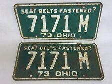 Vintage 1973 Ohio Seat Belts Fastened? License Plates Tags Pair # 7171 M  (K15)