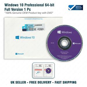 Microsoft OEM Windows 10 Pro Professional 64Bit English Intl 1pk DVD Genuine