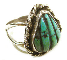Taxco Mexico .925 Sterling Silver Unique Turquoise Ring Size 8