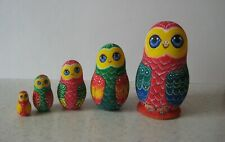 Matryoshkas. Parrots. Hand-painted