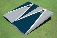 Gray And Navy Alternating Triangle Custom Cornhole Board