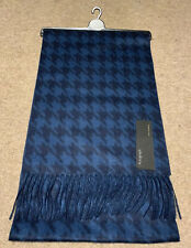 BNWT Mens M&S Autograph 100% Pure Cashmere Blue Mix Dogtooth Wide NEW RRP £49.50
