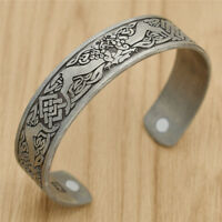 Retro Viking Celtic Cuff Bangle Bracelet Punk Men Women Gothic Silver Jewelry