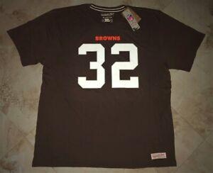 Jim Brown #32 Cleveland Browns Jersey Style T-shirt 2XL 3XL Mitchell & Ness NFL