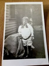 VINTAGE RPPC POSTCARD BUSTER BROWN HAIRCUT RIDING OUTFIT LORD FAUNTLEROY