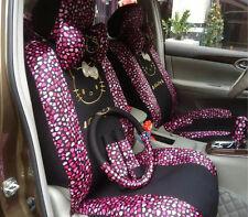 Car Seat Covers Rose Love Hello Kitty Cartoon Universal Car Interior 18 Pieces