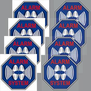 4+4 Sticker 5cm Blue Sticker Alarm System Set Inside Window Glass Disc