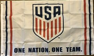 USA Soccer Flag 3x5 One Team One Nation Banner USMNT USWNT