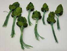96 pcs Vintage Millinery Green Velvet Leaf Leaves for Hats Crafts Made in Korea