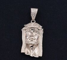 "2"" Men's Jesus Christ Head Face Iced Out CZ Pendant White Sterling Silver 925"
