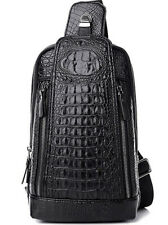 Black Sling Leather Cross Body Crocodile Bag Light Weight New