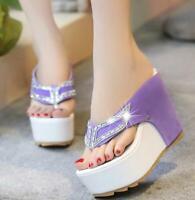 Womens Thong Slipper Sandals Wedge Heel High Platform Crystal Flip Flops Shoes