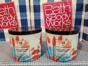 Bath & Body Works BLUE RASPBERRY SNOW CONE 3-Wick Candle X2